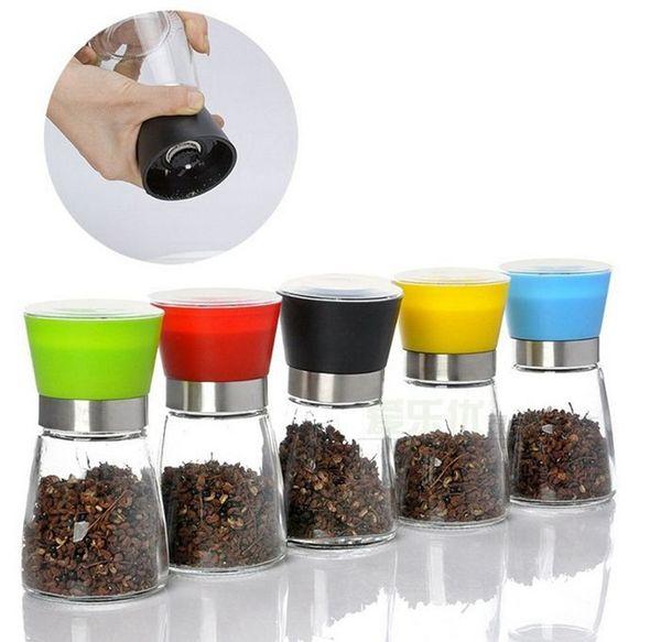 High Quality Best selling Glass Pepper set Salt Herb Spice Hand Grinder Mill manual pepper mill