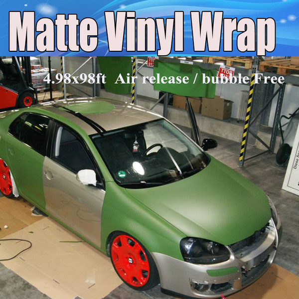 2019 Military Green Matte Vinyl Wrap With Air Bubble Free Matt Army Green Car Wrap Stickers Covering Film Foil Size 152x30mroll 498x98ft From