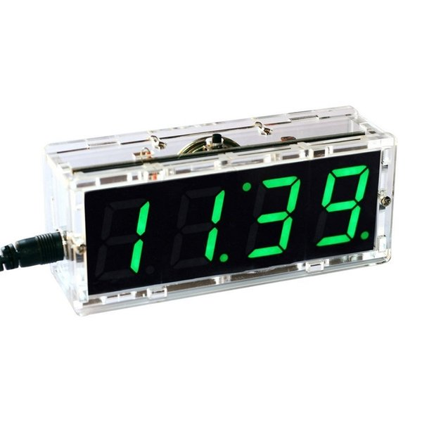 4 Digit LED DIY Electronic Digtal Alarm Clock Kit Module Large Screen Green LED Practice Set