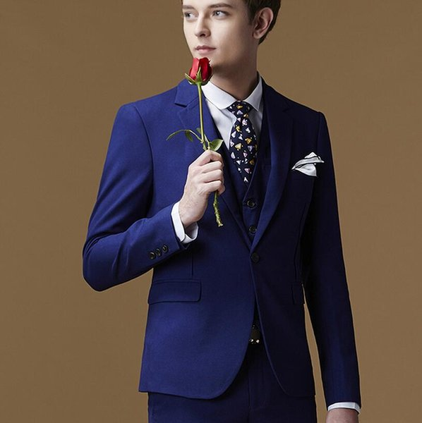 New style men formal dress high quality customized dark blue best man suit delicate ball gown three-piece suit (jacket + pants + vest)