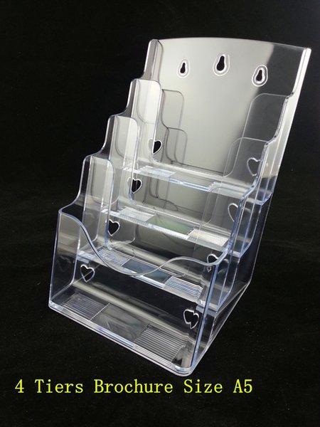 Großhandels-Plastikacrylbroschüre-Literatur-freie A5 4 Reihen Flugschrift-Anzeigen-Halter-Zahnstangen stehen, um Broschüre-freies Verschiffen einzufügen