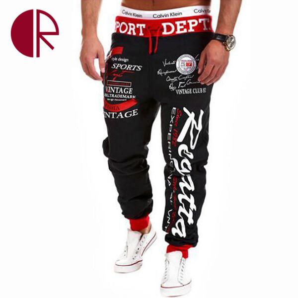 Wholesale-Hot! 2016 New Winter Fashion Designer Trousers Mens Harem Hip Hop Pants Brand Letter Print Joggers Pants Men Sport Sweatpants