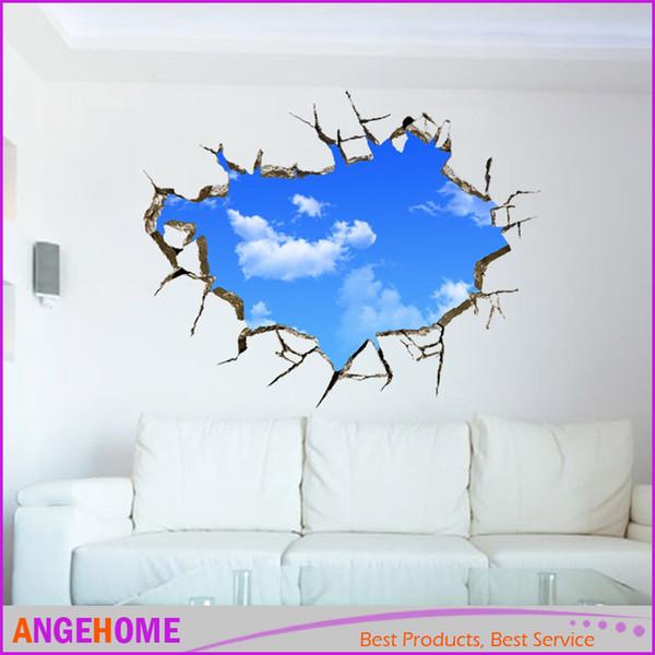 3D стикер стены 70*90 см пейзаж голубое небо белое облако плакат спальня наклейки на стены стикеры, творческий украшения дома