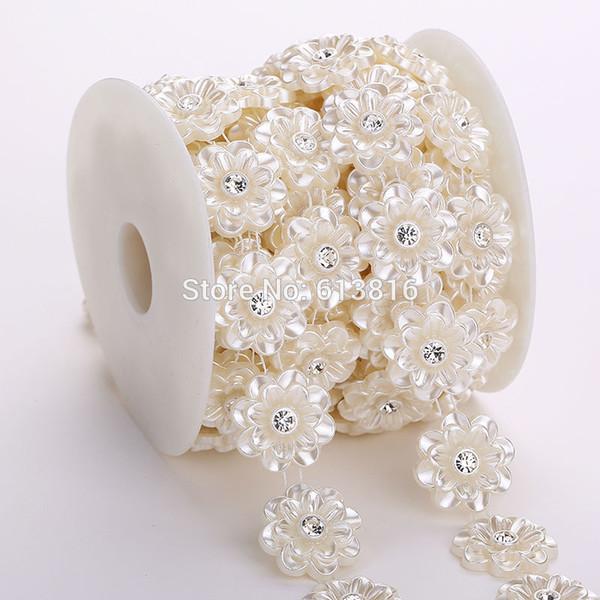 5 yardas 25 mm perlas de marfil y adornos de cadena de diamantes de imitación coser traje apliques