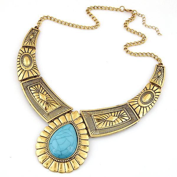 Vintage Choker Necklace Women Water Drop Turquoise Necklaces & Pendants Bijoux Maxi Statement Necklace Collares Collier Femme