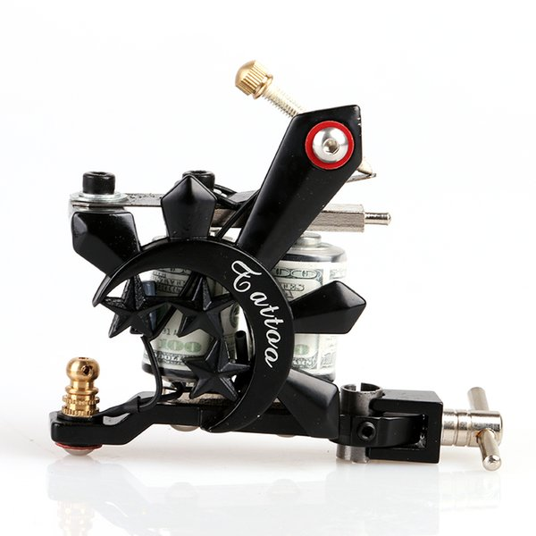 New Design Handmade Black Crystal Shader Tattoo Gun 10 Wrap Coils Black Casting Machine Tattoo Machine for Art Supply Kits TM8395