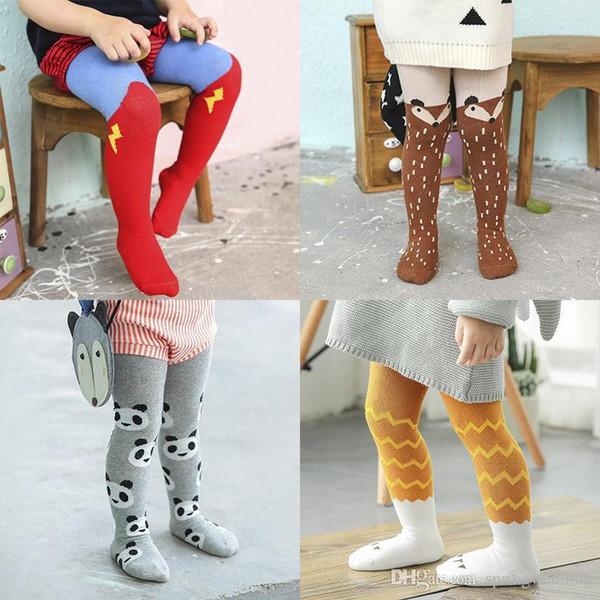 Kids Pants Ins Pantyhose Girl Fox Superman Leggings Cloud Stripe Long Socks Cartoon Animal Print Tights Baby Fashion Panty-Hose Leggings