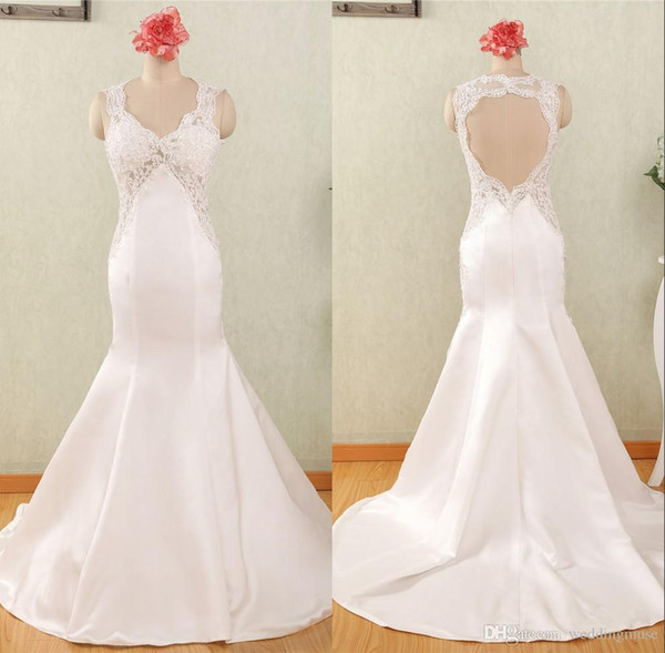 2018 Satin Wedding Dresses Custom Made Mermaid Bridal Gowns Sexy V Neck Lace Appliques with Beading and Sequins Keyhole Back Trumpet Dresses