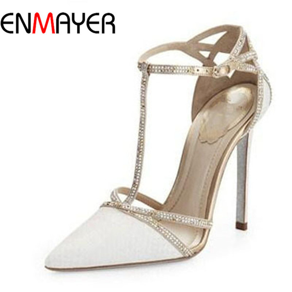 ENMAYER 100% hochwertiger europäischer Artmarken-Pumpen für Frauen reizvolle spitze Zehe-hohe Absätze T-Bügel weiße Schuhplattformpumpen