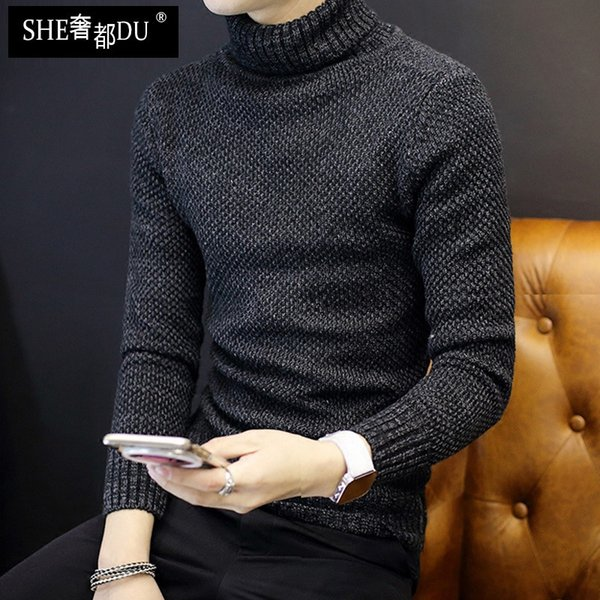 35d2c92b 2019 Wholesale 2016 High Collar Sweater Casual Men Crewneck Designer Mens  Knitwear Hip Hop Pure Color Mens Luxury Sweaters From May512, $38.88 | ...