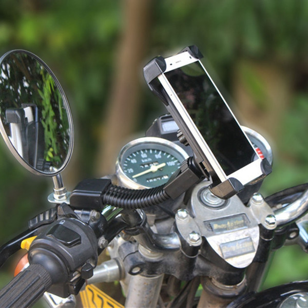 Universal 360 Degree Adjustable Clip Motorcycle Cell Phone Holder Bracket Holster Rearview Mirror Mount for iphone for Samsung