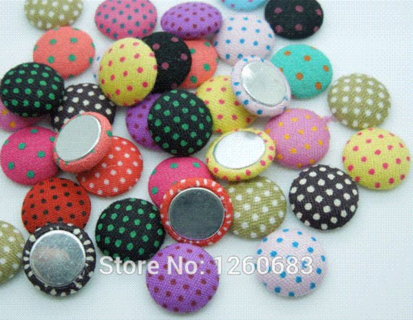 200pcs 12.5mm Polka-dot Printing Fabric Covered Chunky Round Button FlatBack As Jewelry Accessories and Scrapbook Buttons