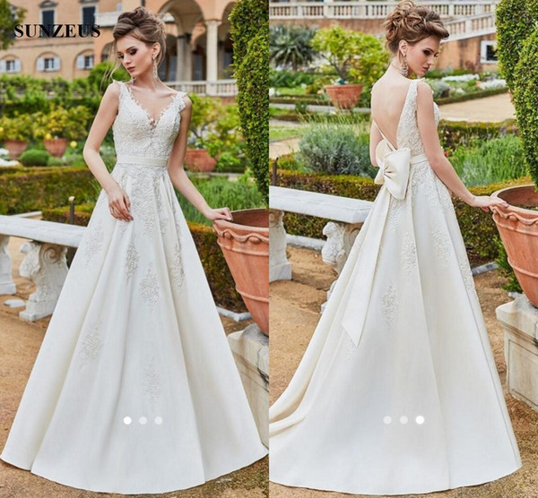 A-line Appliques Satin Wedding Gowns Long Bridal Dress Sheer Back Sexy Bride Dresses With Big Bow Back