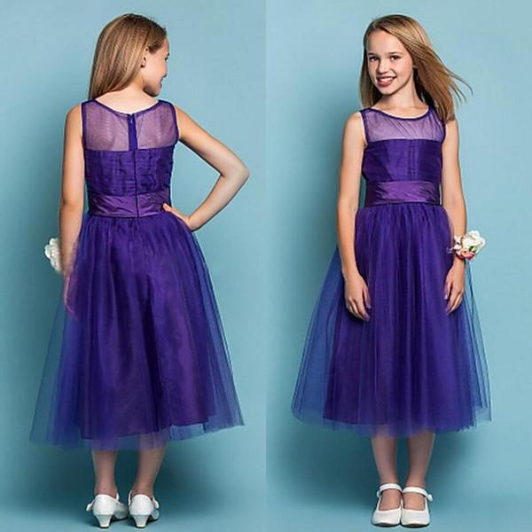 Cheap Flower Girl Dresses 2016 A Line Sheer Neck Royal Purple Junior ...