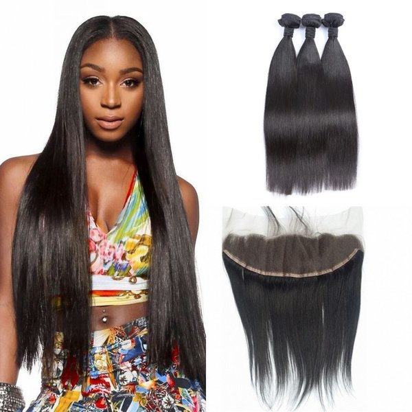 Russian virgin hair Ear To Ear full Lace Frontal Closure STRAIGHT weave Human Hair 13x4 lace frontal with bleached KNOTS G-EASY