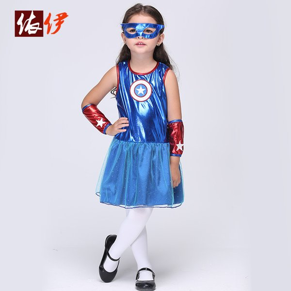 2019 Star Superhero Superman Cosplay Batman Cosplay Clothing Children'S  Costumes Dress + Mask + Cuff Sets For Girls Party Costume A5610 From