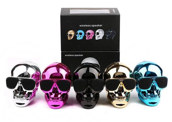 Cool NFC Bluetooth Speaker Sunglass Skull Head Portable Wireless Mobile Loud Subwoofer Super Bass USB Aux In 3.5mm Audio Jack