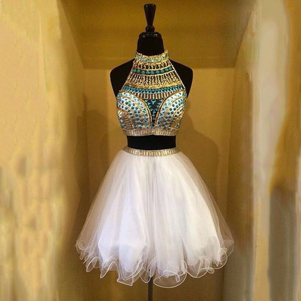Weiß Zweiteiler Homecoming Kleider High Neck Halfter Kristall Perlen Tüll Kurze Ballkleider Graduation Dresses With Sexy Back