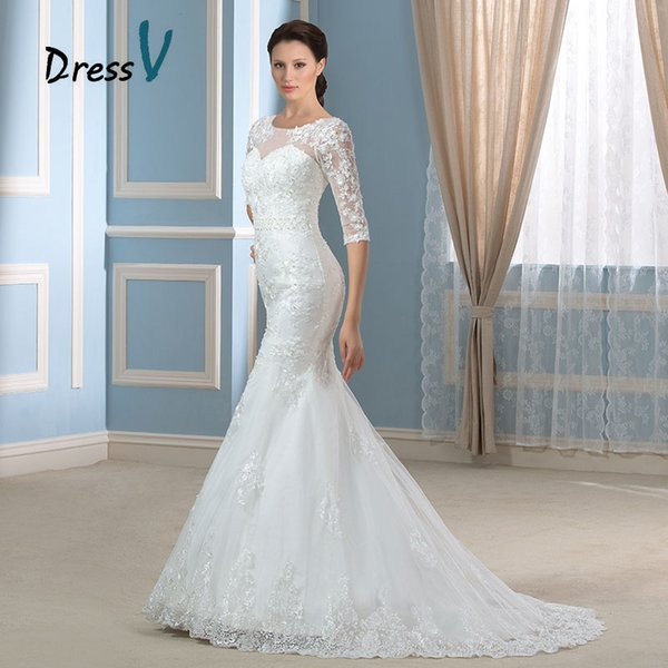 2019 New Style Half Sleeves Lace Wedding Dress Bridal Gowns Sexy Beaded Pearls Scoop Neck Court Train Mermaid Wedding Dress