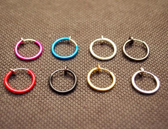 Colorful Nose Ring Lip Ear Nose Clip On Fake Piercing Nose Lip Hoop Rings Earrings ear clip body jewelry QQ