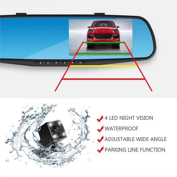 2017 New waterproof dual lens rearview mirror right display car camera auto cars dvr recorder video full hd1080p dash cam camcorder