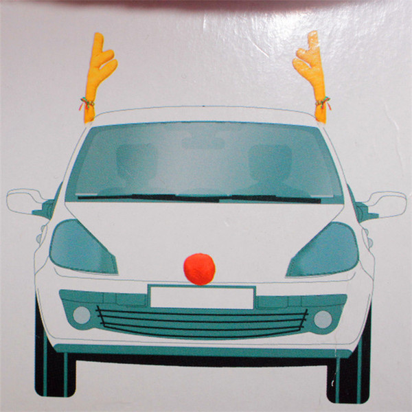 Christmas Reindeer Antlers Red Nose Car decoration set With Christmas Bells New Reindeer Antlers Car Costume Horn for all vehicls cars Xmas