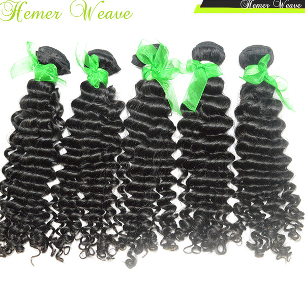 Cheap Indian Virgin Deep Wave Curly Hairs Best 8A Natural Weave 3pcs/lot Fast DHL shipping