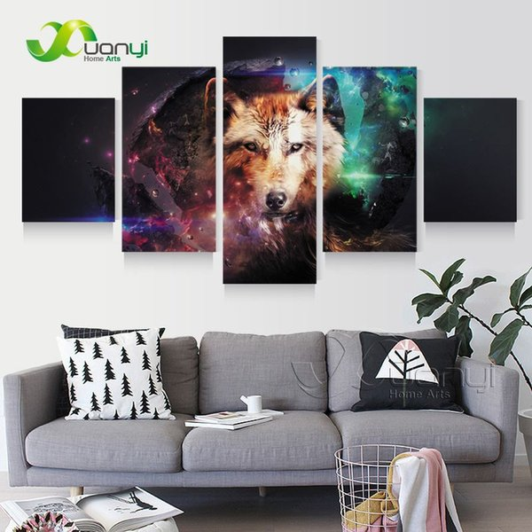 5 Piece Canvas Art Modern Print Wolf Picture Home Decoration Wall Canvas Pictures For Living Room Canvas Print Unframed PR1283