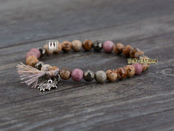 Boho Natural Stones with Pyrite and Tassel Stretched Bracelets Handmade Elastic Mala bead bracelet Yoga Bracelet Yoga Jewelry