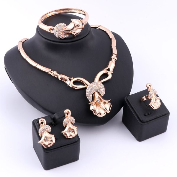 Fashion Dubai 18K Gold Silver Plated Crystal Necklace Earrings Ring Bracelet Jewelry Sets For Girlfriend Women Wedding Party