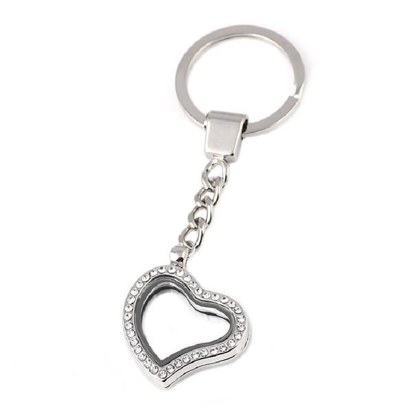 10pcs / lot geben Verschiffen-neuestes Herz magnetisches sich hin- und herbewegendes Locket Keychain-Schlüsselring-Glas-lebender Speicher Medaillon mit Rhinestones frei