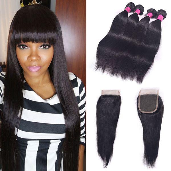 Virgin Chinese Hair Straight Bulk 4Bundles with Closure 6A Grade Grace Hair Weaves Closure Aunty Funmi Hair Closure Premium Now Hair