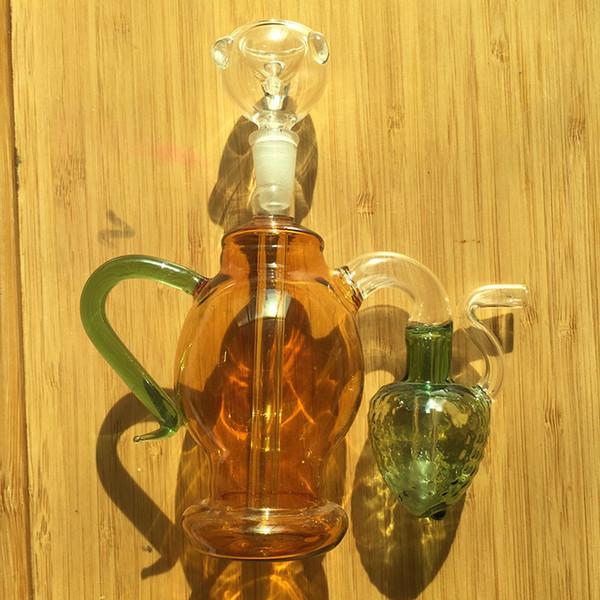 No.017 MINI glass Bong Inline Perc Glass Water Pipe Honeycomb Bong 10mm Ash CatchersBong Vortex Honeycomb Shiny Oil Rigs Water Smoking Pipes