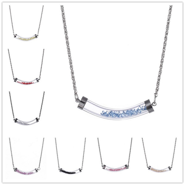 New Smile Lip Like U shaped 10MM Bending Glass Pipe Filled With Crystal Dry Flowers Pendant Necklace for Women Girl Gift Metal Chain
