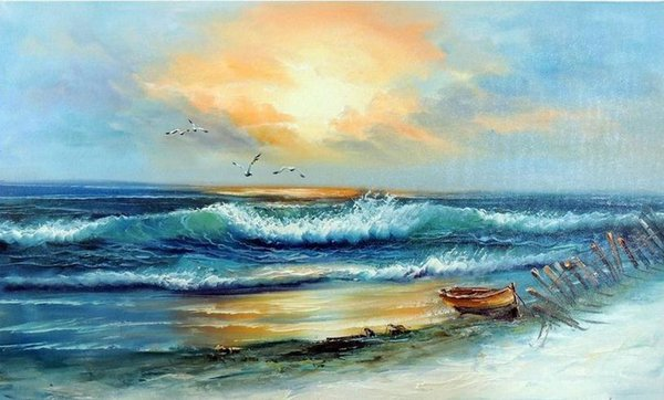 Beach Rowboat Sunset Surf Sand Gulls,Free Shipping,Pure Hand-painted Seascape Art oil painting On Canvas in any size customized