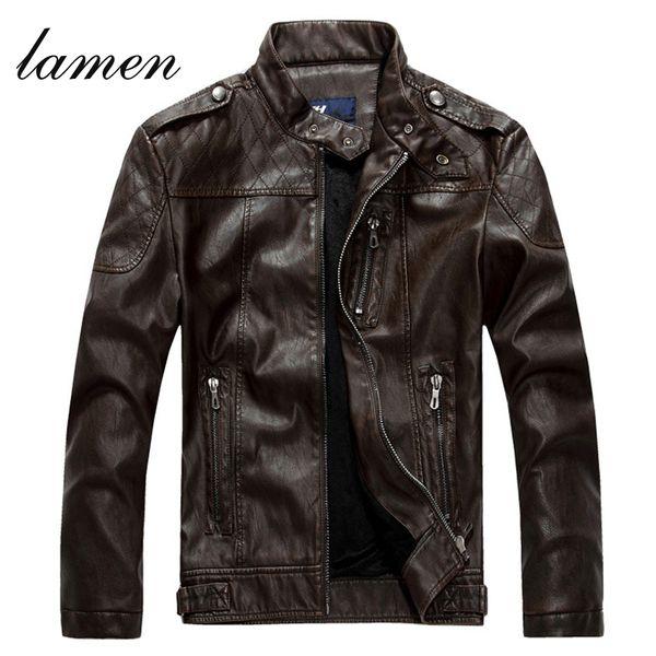 Fall-2016 Men's Sheepskin washed Leather Jacket Fur Stand Collar PU Motorcycle Jaqueta Masculinas Inverno Couro Winter Jacket Men