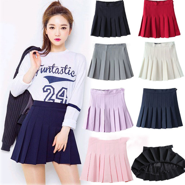2018 Wholesale Candy Colors Skirts 2016 Womens Pleated Plus Size