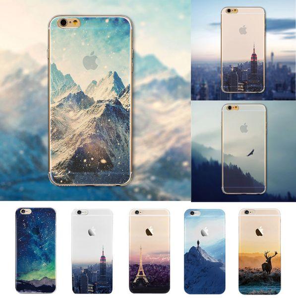 Cubierta al por mayor-trasera Ultra Thin Soft Silicon Mountain Landscape Funda para iphone 6 4.7 '' Cubierta trasera transparente para teléfono