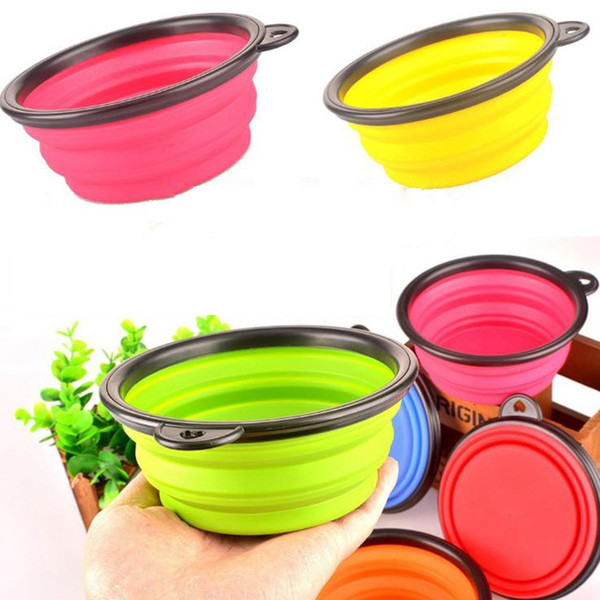 best selling New Silicone Folding dog bowl Expandable Cup Dish for Pet feeder Food Water Feeding Portable Travel Bowl portable bowl with Carabiner