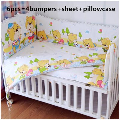Promotion! 6PCS Customized Crib Bedding Sets bed bumper Baby Bedding Set ,(bumpers+sheet+pillow cover)