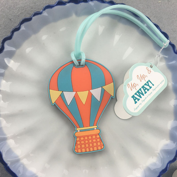 100pcs Travel Accessories Luggage Tag Suitcase Cartoon Style Cute Air Balloon Plastic Address Label ID Tags Wedding Favors Party Gift ZA0967