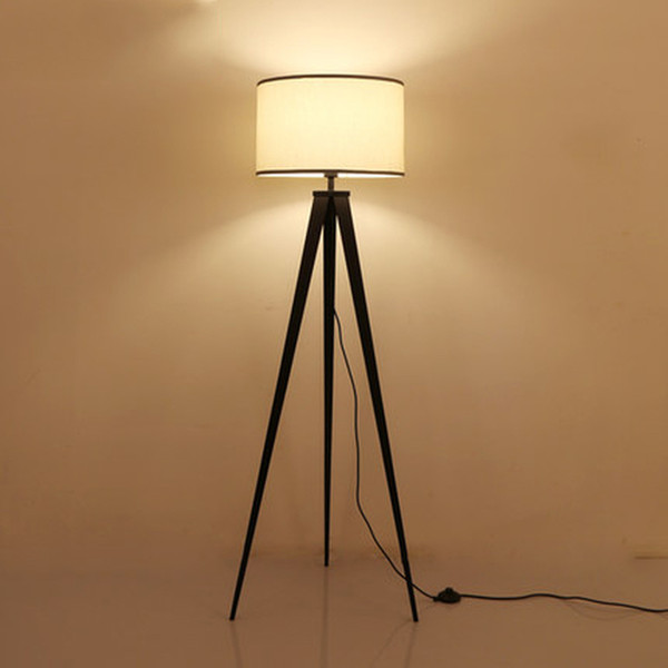 Discount Rustic Wooden Tripod Floor Lamp Fabric Lampshades Classical