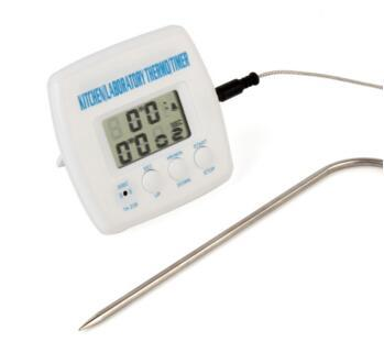 10pcs/lot Multi-functional Digital LCD Display Timer Cooking Kitchen BBQ Probe Meat Food Thermometer Temperature meter