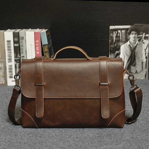 best selling original design brand of mens leisure bag bag retro portable high quality male package business men crazy horse leather briefcase