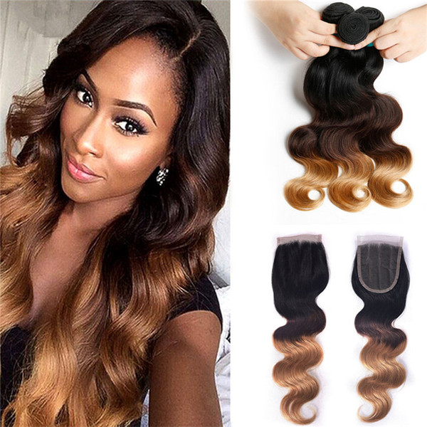 8A Ombre Brazilian Hair Weave 3 Bundles With Closure Brazilian Body Wave With Frontal Closure Wavy Lace Closure #1B/4/27