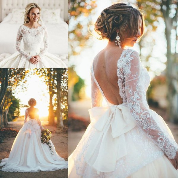 Duchess wedding gown by Elizabeth de Varga 2017 Lace Stain With Bow Backless Long Sleeve Puffy Skirts Princess Country Garden Wedding Dress