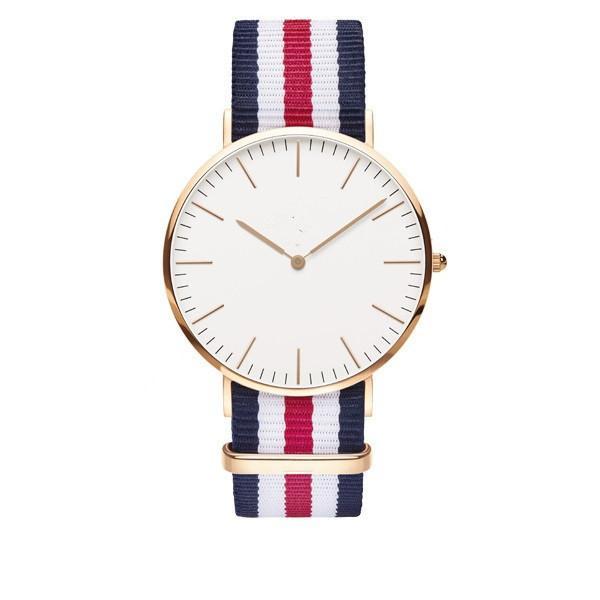 100pcs uxury Brand Style D&W Watches For Men Women Gold Dial Nylon Strap Military Quartz Wrist watches
