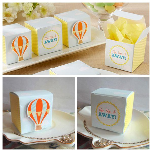 """250 Pcs/lot New Arrival Unique Gift box """"Up, Up and Away!"""" Hot Air Balloon Wedding Favor Box and Party Favor Candy box For baby decorations"""