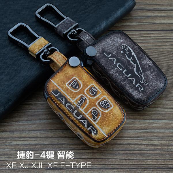 Pour Jaguar XE XJL XF F-TYPE 4 Boutons Intelligents Haute Qualité 100% Cuir véritable Graffiti Télécommande Télécommande Clé Porte-clés Accessoires