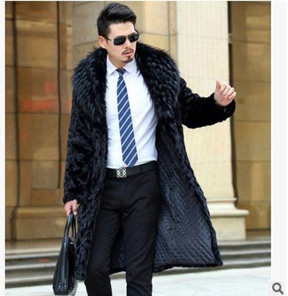 Fall-S / 5Xl Hombre Invierno Abrigos de imitación Casual Negro Gran Tamaño Largo Abrigos de piel masculina Hombre Abrigos de piel sintética Jaqueta Masculina J1540